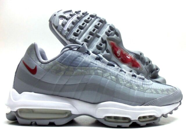 NIKE AIR MAX 95 ULTRA WOLF GREYRED CRUSH SIZE MEN'S 8.5 [AR4236 001]