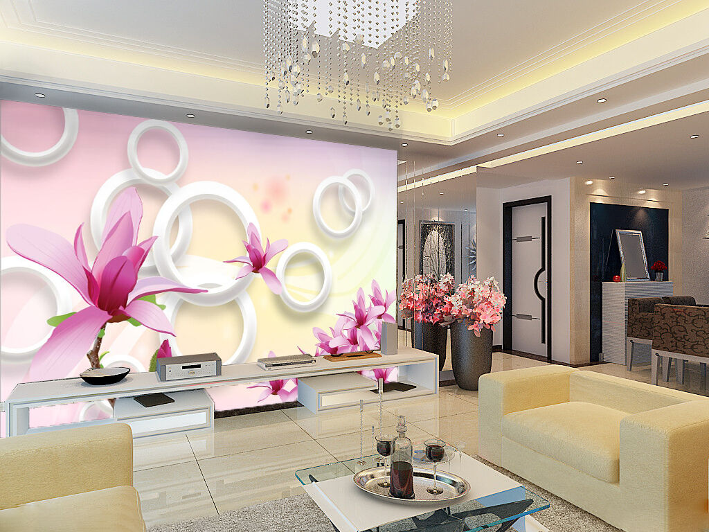 3D lila Flower Circle 807 Wall Paper Wall Print Decal Wall AJ WALLPAPER CA