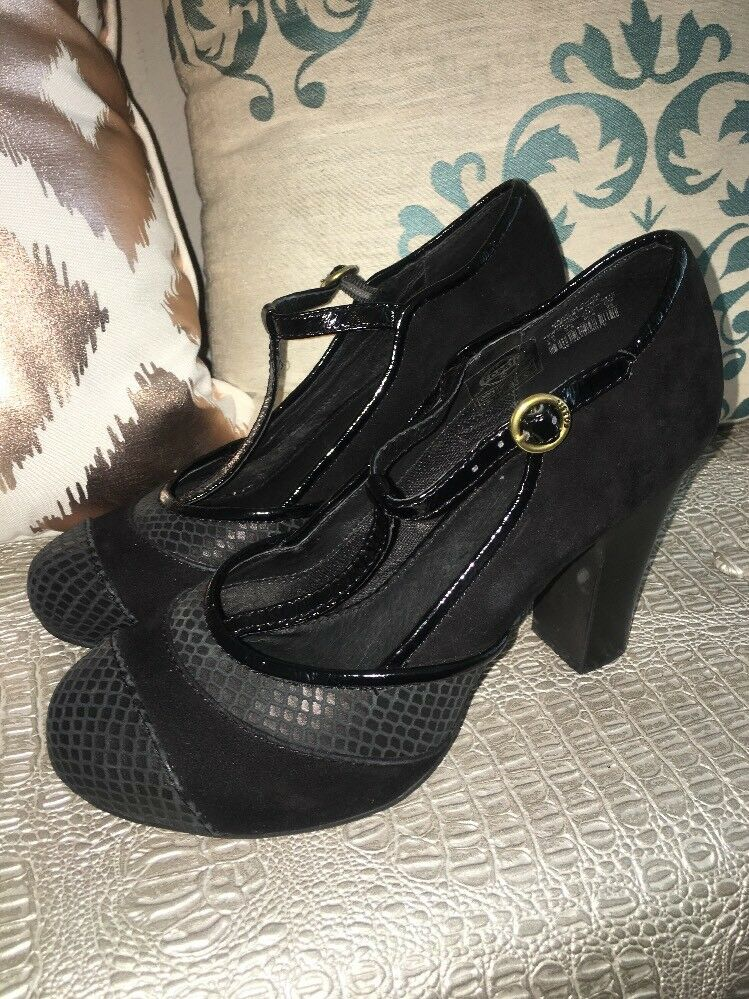Fossil MaryJane Mixed Media Black Patent Suede Snake Pump Size 8.5
