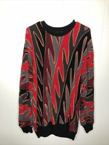 Vintage-Kanada-Tundra-Multicolor-COOGI-Stil-gestreift-90-039-s-Pullover-Herren-Grosse