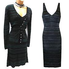 Karen Millen Black Stripe Shimmery Knitted Cocktail Dress & Cardigan SZ 2-10 UK