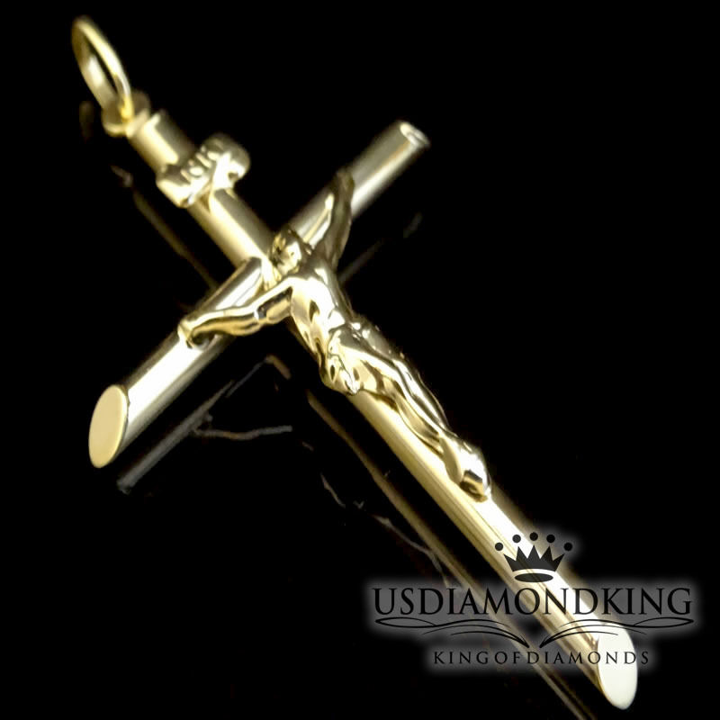 Mens Tube 2.25  10k 100% Real Yellow gold Crucifix Jesus Cross Charm Pendant Big
