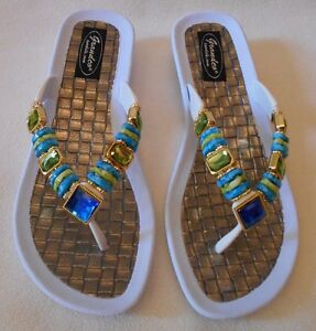 1414f0422f7c8b GRANDCO SANDALS Beach Pool THONG Blue   Green Frosted   JEWELED ...