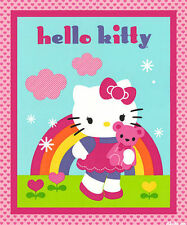"SANRIO HELLO KITTY & TEDDY BEAR  100% COTTON FABRIC  35"" WALLHANGING / COT PANEL"