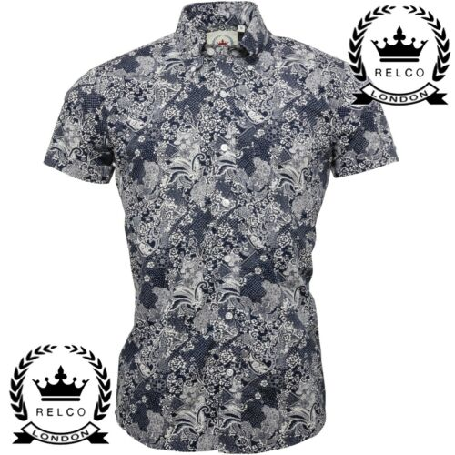 Relco Mens Navy Blue Floral Paisley Short Sleeve Shirt Button Down Collar NEW