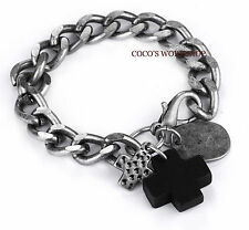 QUALITY SILVER TONE CROSS CHARMS SNAKE CHAIN MENS BRACELET JEWELLERY GOTH GIFT
