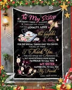 To My Sister Hippie Be My Baby Sister Sofa Fleece Blanket 50-80