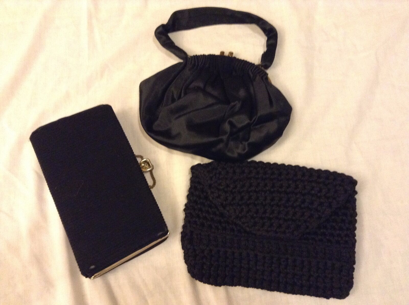 LOT OF 3 Black-(2)Clutches-Corduroy&Knit (1)Purse-Satin-Dress or Casual Occasion