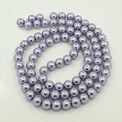 BD379 140 Glass Beads 6mm Faux Pale Blue Pearl Strand