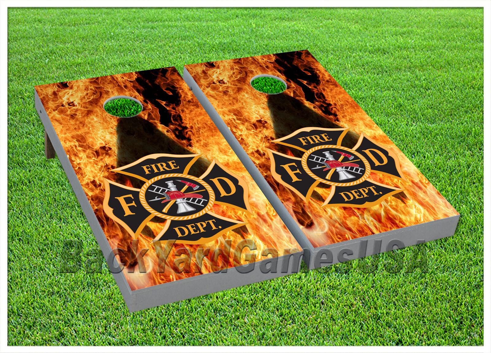 VINYL WRAPS CORNHOLE BEANBAG Boards Fire Department Flames White 925   comfortable