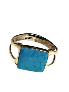 Vintage-925-Taxco-Mexico-Turquoise-Sterling-Silver-Hinged-Bangle-Bracelet-70g