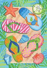 """Tropical Flip Flops Summer Garden Flag Sand Beach Nautical 12.5"""" x 18"""""""