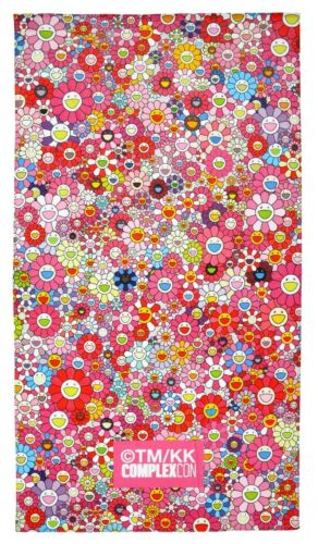 "TAKASHI MURAKAMI x ComplexCon /'Flowers 60/""x30/"" NIP! Ed Pink /' Beach Towel Ltd"
