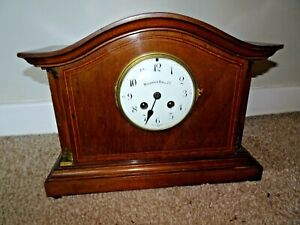 Antique-Mahogany-Walker-amp-Hall-Mantel-Clock-with-Columnar-Detail-amp-Inlaid-Front