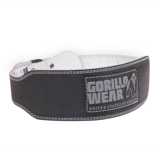 Gorilla Wear 4 INCH Padded Leather Belt – Black Fitness Bodybuilding
