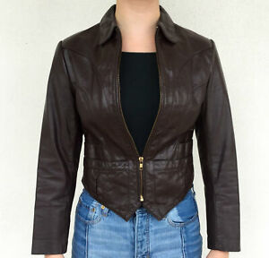 Vintage-VTG-70s-1970s-Dark-Brown-Genuine-Leather-Bomber-Jacket-Coat