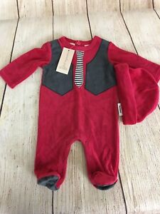 First Impressions Footed Romper Babys First Christmas Red