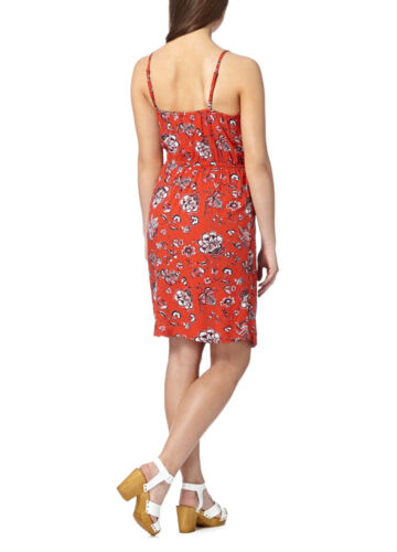 SUMMER DEBENHAMS WOMENS LADIES VINTAGE FLORAL CROCHET RED WRAP DRESS UK 8-20