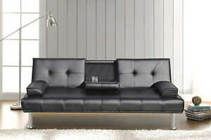 Image Is Loading Black Modern Faux Leather Sofa Bed Double Click