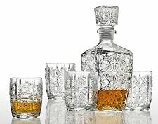 NEW Crystal Glass Whiskey Bar Set Decanter Bourbon Scotch Glasses Liquor Gift