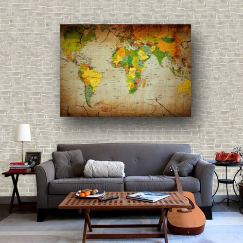 Fabric Canvas Poster Vintage Universal Geographic World Map Bar Cafe Decor S47