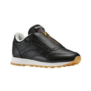 06ae2eb992157 Reebok Classic Leather Zip (BLACK CHALK SLEEK MET) Women s Shoes ...