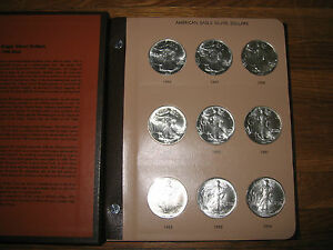 34-COIN-COMPLETE-SET-SILVER-AMERICAN-EAGLE-S-IN-DANSCO-UNITED-STATES-DOLLARS-GEM