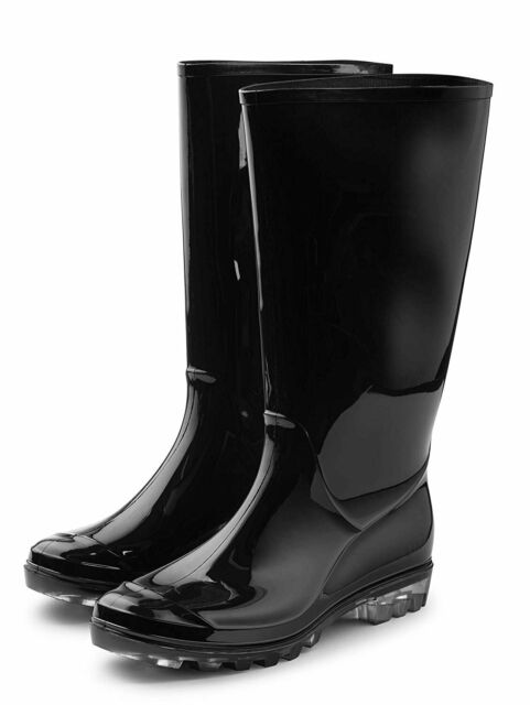 black and pink rain boots