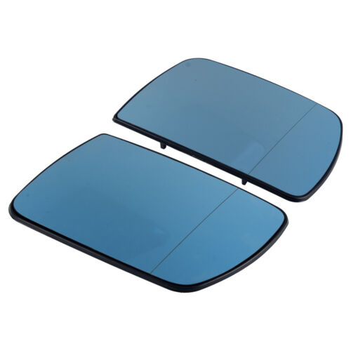 2x Blue Wide Angle Rear View Heated Mirror Glass Fit For BMW X5 E53 2000-06