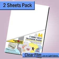 T shirt Transfer Paper A4 INKJET - 2 Sheet Pack - Iron on decal for LIGHT Fabric