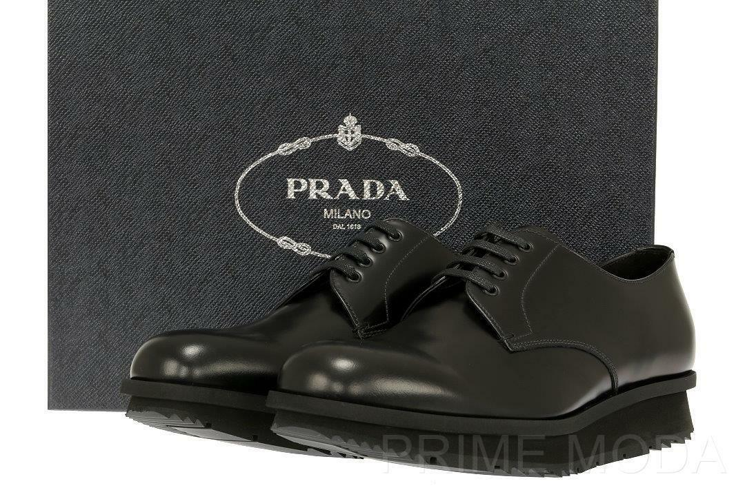 NEW PRADA MILANO CURRENT PLATFORM CASUAL OXFORDS BLACK LEATHER  SHOES 8.5 US 9.5