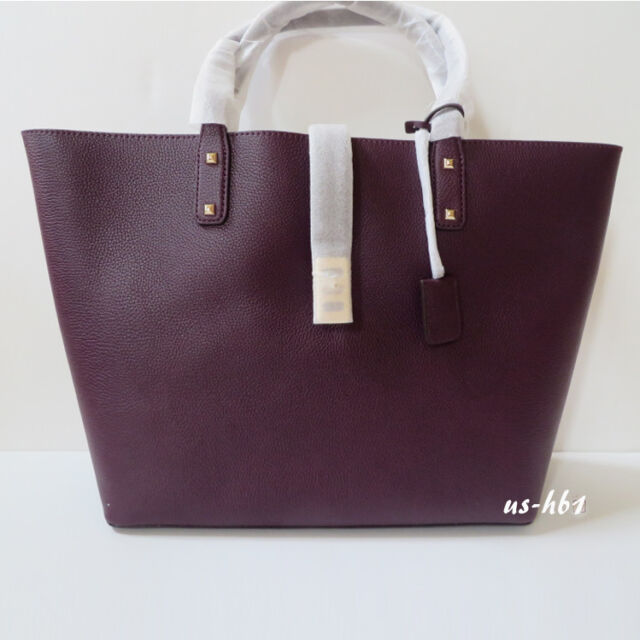 ed147555a071 $398 NWT MICHAEL KORS Large Karson Carryall Leather Tote Bag in Damson