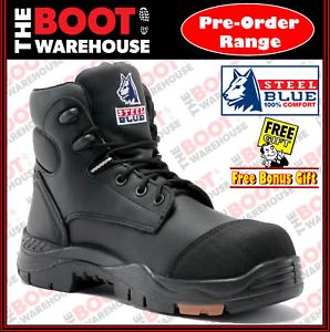 18077018458 Details about Steel Blue 'CANBERRA' 617512 Work Boots. Black Composite Toe  Cap Safety Bump Cap