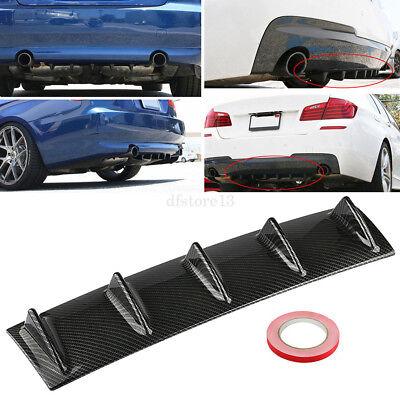 Universal Carbon Fiber Look Rear Bumper Lip Chassis Diffuser Spoiler Shark 3 Fin