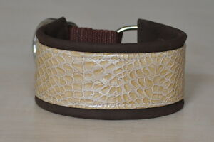 Hundehalsband-beige-braun-Zugstopp-geschlossen-32cm-6cm-breit-NEU-Sonderpreis