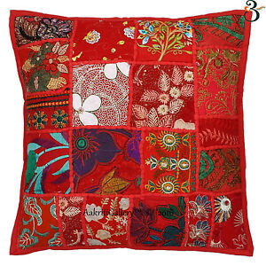 Red-Kantha-Quilted-Cotton-Cushion-Cover-16-034-Sofa-Decor-Indian-Pillow-Covers