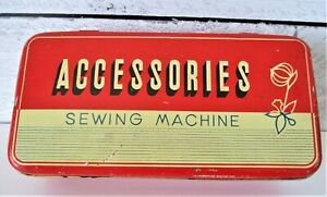 Accessories-Sewing-Machine-Ribbon-Red-Tin-Box-Vintage-Hinge-Top-Rectangle