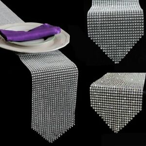 Bling-Brillant-Cristal-Mariage-Table-Runner-Strass-Diamant-en-resille-Wrap-decor