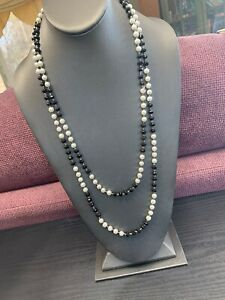"Vintage white imitation White pearl beaded Black Glass long necklace 60"""