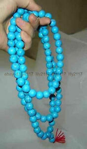 AAA-Vintage-Blue-Turquoise-108-Prayer-Beads-Round-Gemstone-Necklace-9-10mm
