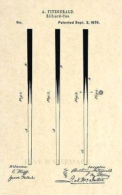83 Antique Pool Stick Art Print Official 1879 Billiard Cue US Patent Print