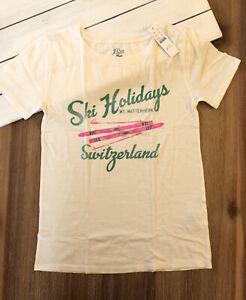 """J. Crew Women's """"Zermatt Switzerland"""" Ski Holidays Graphic T Shirt - Ivory - NWT"""
