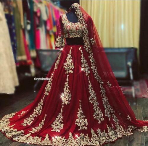 Red Lehenga Choli Indian Ethnic Wedding Wear Lengha Chunri Skirt Top Set Dress