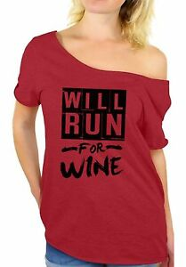 55a30e1142fa0 Gym Off Shoulder Tops T shirt Will Run For Wine Women s Funny ...