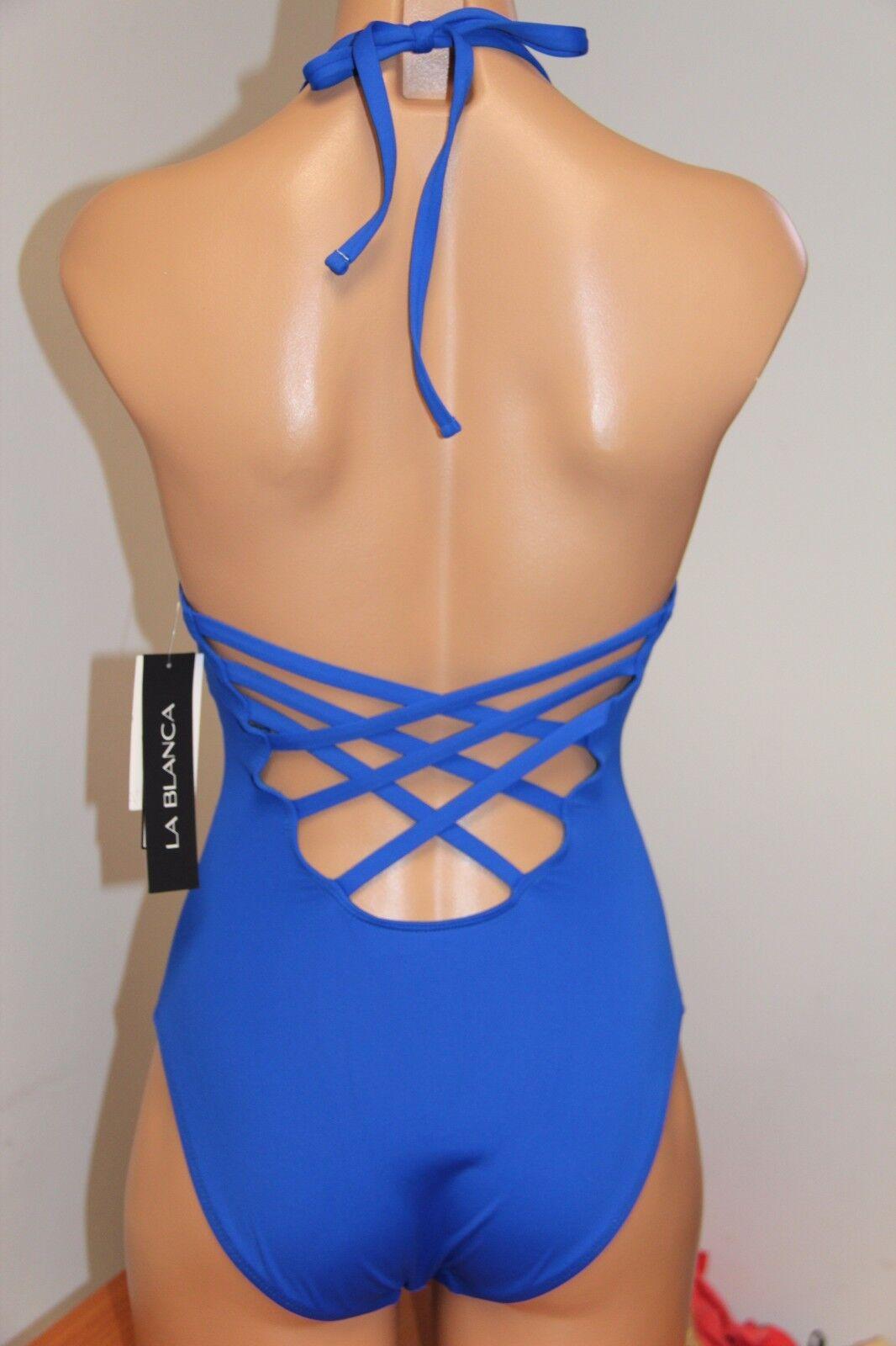 NWT La whitea Swimsuit Swimsuit Swimsuit Bikini 1 one piece Sz 4 Sapphire SAP 090c4a