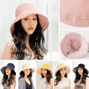 4b5768e84 Women Shapable Sun Hat Summer Beach Plaid Bucket Cap Large Brim ...