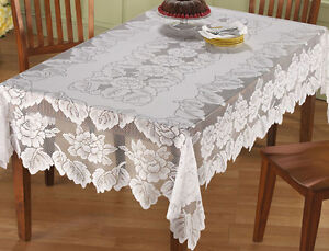 Exceptionnel Image Is Loading Lace Tablecloth Rectangle White IN HAND Floral Rose