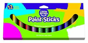 Little-Brian-Solide-Couleur-Peinture-Sticks-assorties-Pack-de-12-couleurs