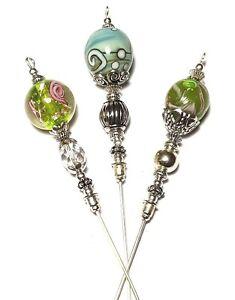 7-6x15-2cm-Gruen-Hut-Pin-Set-Glas-Perlen-Tibetische-Silber-Stil-Strong-Pin-UK