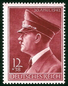DR-Nazi-3rd-Reich-Rare-WWII-Stamp-1942-Hitler-039-s-53th-BirthDay-Fuhrer-Anniversary